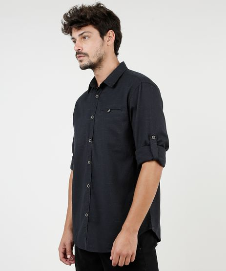 Camisa-Masculina-Tradicional-Mescla-com-Bolsos-Manga-Longa-Preta-9813192-Preto_1