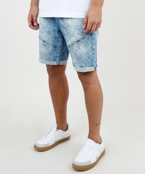Bermuda-Jeans-Masculina-Slim-com-Recortes-e-Barra-Dobrada-Azul-Medio-9860116-Azul_Medio_1