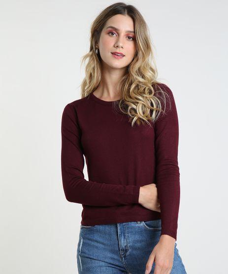 Sueter-Feminino-Basico-em-Trico-Decote-Redondo-Vinho-9325342-Vinho_1