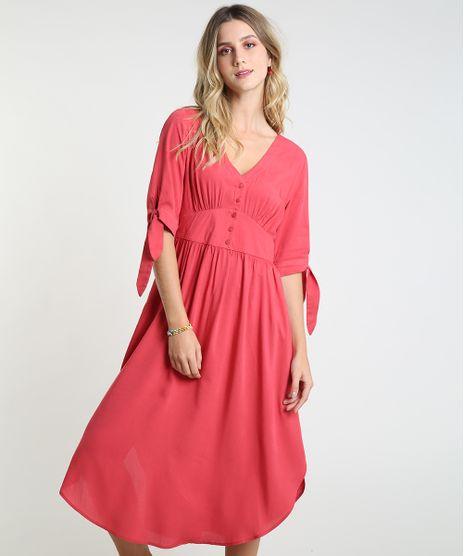Vestido-Feminino-Midi-com-Botoes-Manga-Curta-Vermelho-9819275-Vermelho_1