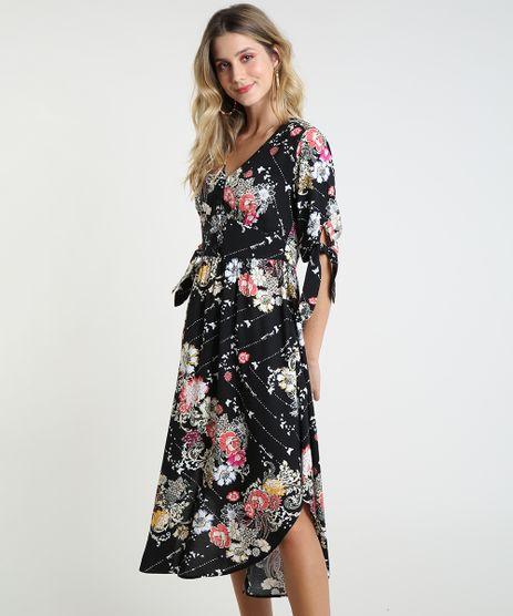 Vestido-Feminino-Midi-Estampado-Floral-Manga-Curta-Preto-9819274-Preto_1