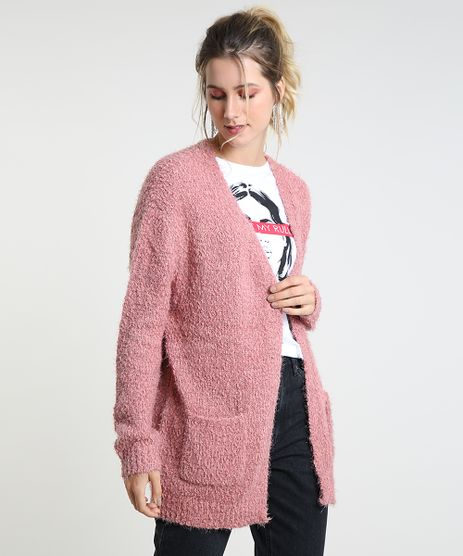 Capa-Feminina-em-Trico-Texturizado-com-Bolsos-Rose-9813090-Rose_1