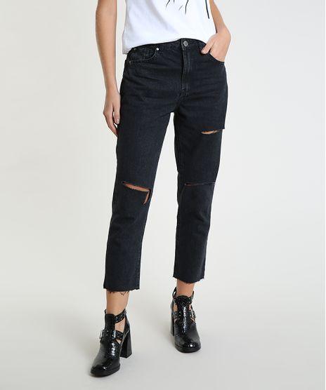 Calca-Jeans-Feminina-Mom-Cropped-Cintura-Alta-com-Rasgos-Preta-9946086-Preto_1