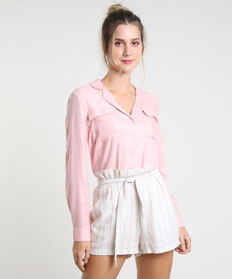 Camisa-Feminina-com-Bolso-Manga-Longa-Rosa-Claro-9827522-Rosa_Claro_1