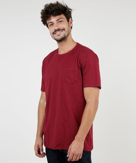 Camiseta-Masculina-com-Bolso-Manga-Curta-Gola-Careca-Vinho-9286133-Vinho_1