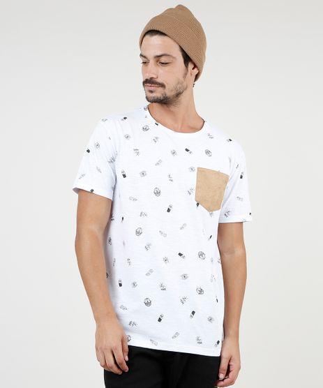Camiseta-Masculina-Estampada-com-Bolso-em-Suede-Manga-Curta-Gola-Careca-Branca-9756433-Branco_1