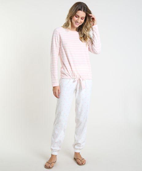 Pijama-Feminino-Listrado-com-Coracoes-em-Fleece-Manga-Longa-Rosa-Claro-9836378-Rosa_Claro_1