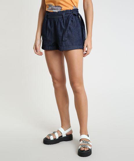 Short-Jeans-Feminino-Clochard-Cintura-Alta-com-Faixa-para-Amarrar-Azul-Escuro-8613500-Azul_Escuro_1