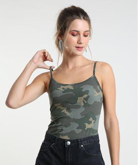 Regata-Feminina-Basica-Estampada-Camuflada-com-Alca-Fina-Decote-Redondo-Verde-Militar-9230322-Verde_Militar_1