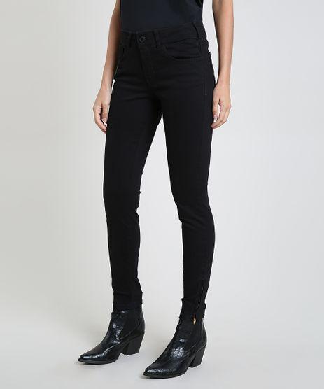Calca-de-Sarja-Feminina-Super-Skinny-Cintura-Media-com-Ziper-na-Barra-Preta-7936031-Preto_1