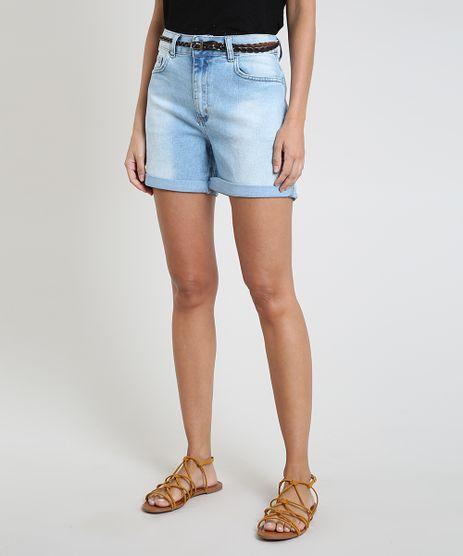 Bermuda-Jeans-Feminina-Cintura-Media-Barra-Dobrada-com-Cinto-Azul-Claro-9823283-Azul_Claro_1