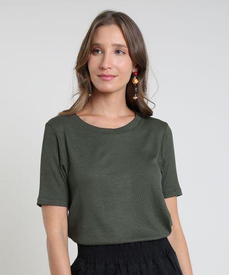 Blusa-Feminina-Basica-Canelada-Manga-Curta-Decote-Redondo-Verde-Militar-9768764-Verde_Militar_1