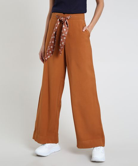 Calca-Feminina-Pantalona-Cintura-Alta-com-Bolsos-e-Faixa-para-Amarrar-Acetinada-Caramelo-9818106-Caramelo_1