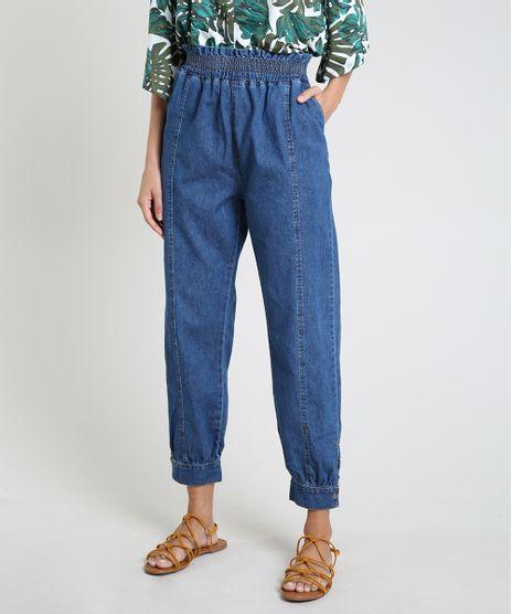 Calca-Jeans-Feminina-Jogger-Clochard-Cintura-Alta-com-Bolsos-Azul-Medio-9934097-Azul_Medio_1