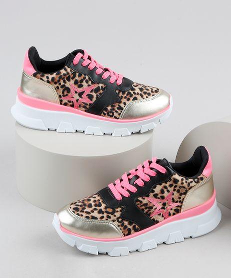 Tenis-Feminino-Oneself-Sneaker-Chunky-Estampado-Animal-Print-Onca-com-Recortes--Bege-9943066-Bege_1