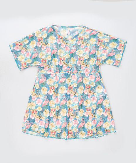 Saida-de-Praia-Infantil-Estampada-Floral-em-Tule-Manga-Curta-Azul-9889848-Azul_1