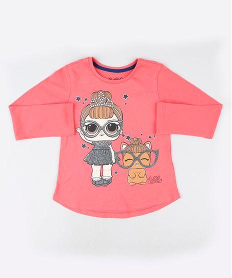 Blusa-Infantil-LOL-Surprise-com-Glitter-Manga-Longa--Coral-9923625-Coral_1