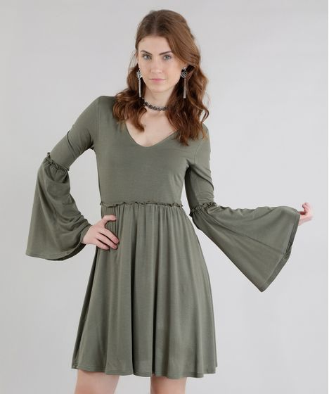 Black Friday Vestido Verde Militar Cea
