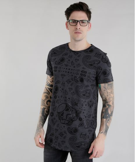 Camiseta-Longa-Estampada-Star-Wars-Cinza-Mescla-Escuro-8656421-Cinza_Mescla_Escuro_1