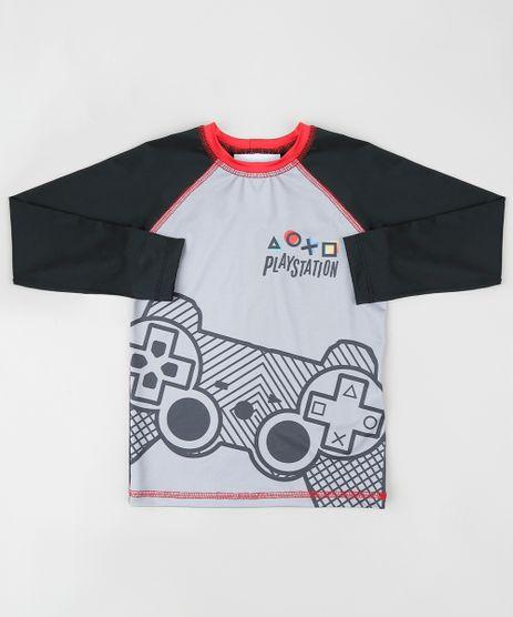Camiseta-de-Praia-Infantil-PlayStation-Raglan-Manga-Longa-Cinza-9866932-Cinza_1