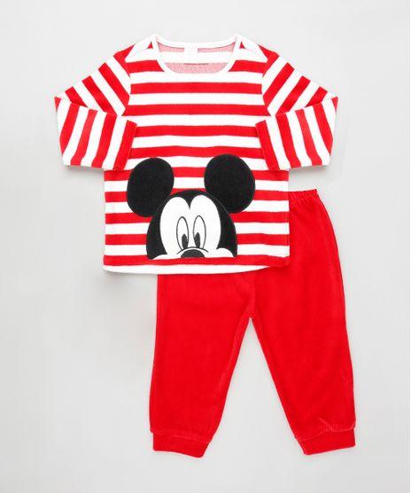 Conjunto-Infantil-Mickey-de-Blusao-Listrado---Calca-em-Plush-Vermelha-9839861-Vermelho_1