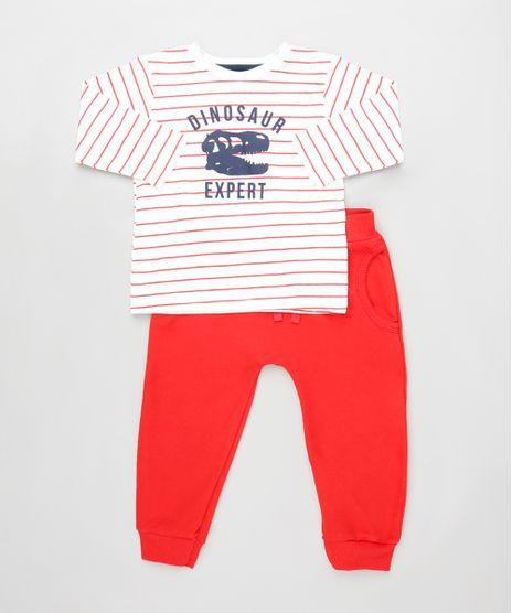 Conjunto-Infantil-de-Camiseta-Listrada-Dinossauro-Manga-Longa-Branca---Calca-com-Bolsos-Vermelha-9929718-Vermelho_1