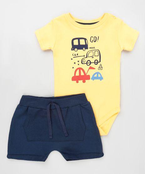 Conjunto-Infantil-de-Body-Carrinhos-Manga-Curta-Amarelo---Short-com-Bolso-Azul-Marinho-9929710-Azul_Marinho_1