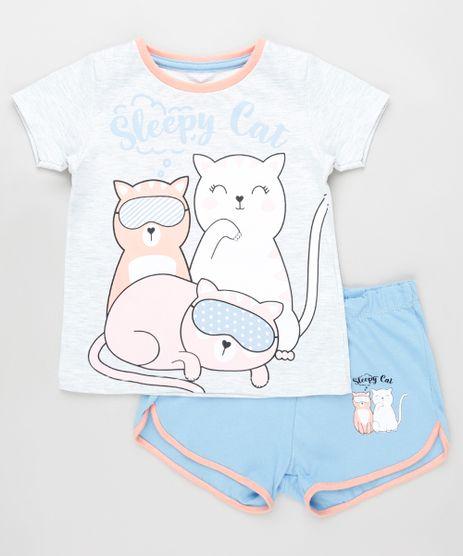 Pijama-Infantil-Gatinhos-Manga-Curta-Cinza-Mescla-Claro-9879738-Cinza_Mescla_Claro_1
