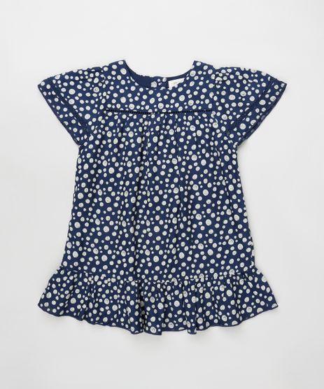 Vestido-Infantil-Estampado-de-Bolhas-com-Babado-Manga-Curta-Azul-Marinho-9796112-Azul_Marinho_1