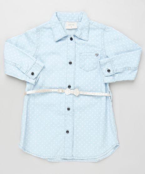 Vestido-Jeans-Infantil-Chemise-Estampado-de-Poa-Manga-Longa-com-Cinto-Azul-Claro-9933309-Azul_Claro_1
