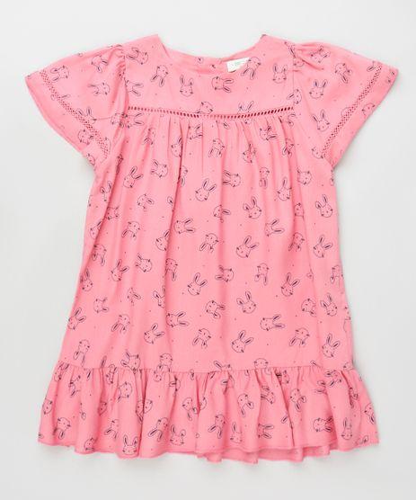 Vestido-Infantil-Estampado-de-Coelhos-com-Babado-Manga-Curta-Rosa-9796109-Rosa_1