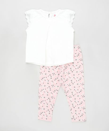 Conjunto-Infantil-de-Blusa-Flame-Manga-Curta-Off-White---Calca-Estampada-Floral-Rosa-Claro-9905222-Rosa_Claro_1