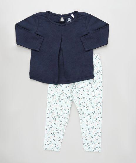 Conjunto-Infantil-de-Blusa-Flame-Manga-Longa-Azul-Marinho---Calca-Estampada-Floral-Verde-Claro-9922709-Verde_Claro_1