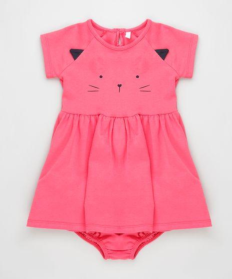 Vestido-Infantil-Gatinho-Manga-Curta-Pink-9919758-Pink_1