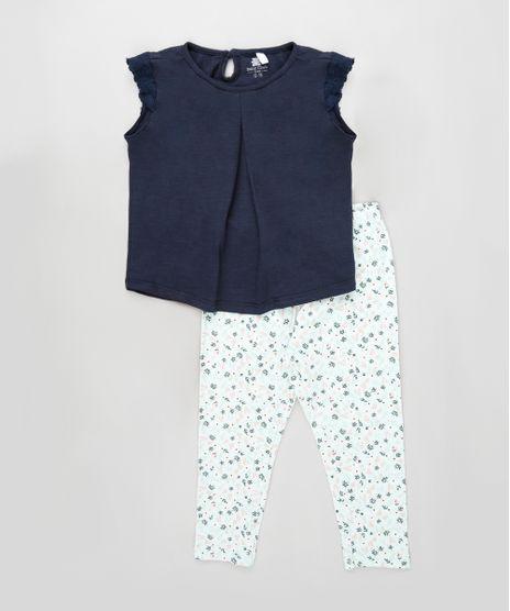 Conjunto-Infantil-de-Blusa-Flame-Manga-Curta-Azul-Marinho---Calca-Estampada-Floral-Verde-Claro-9922708-Verde_Claro_1