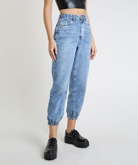 Calca-Jeans-Feminina-Mom-Jogger-Cintura-Super-Alta-com-Bolsos-Azul-Medio-9944867-Azul_Medio_1