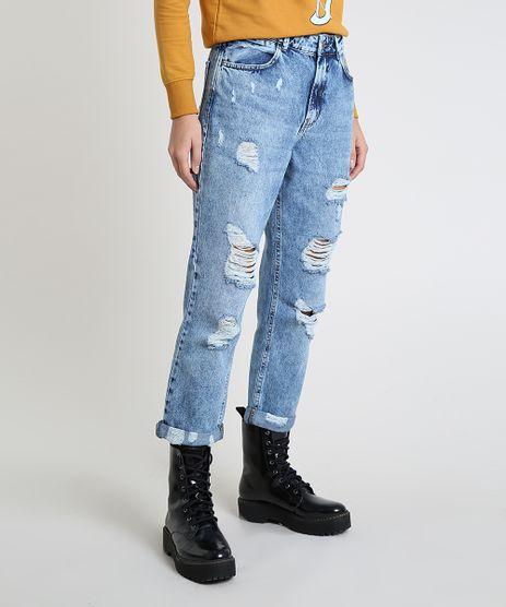 Calca-Jeans-Feminina-Mom-Cropped-Cintura-Super-Alta-Destroyed-Azul-Medio-9946097-Azul_Medio_1