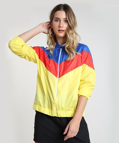 Jaqueta-Corta-Vento-Feminina-em-Nylon-com-Recortes-Amarela-9943599-Amarelo_1