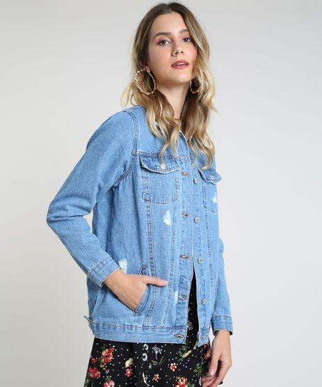 Jaqueta-Jeans-Feminina-Longa-Destroyed-com-Bolsos--Azul-Medio-9944883-Azul_Medio_1