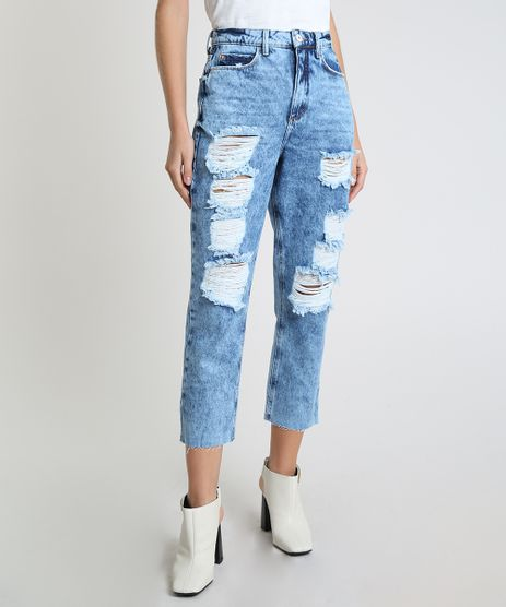 Calca-Jeans-Feminina-Mom-Cropped-Cintura-Super-Alta-Destroyed-Azul-Medio-9945388-Azul_Medio_1