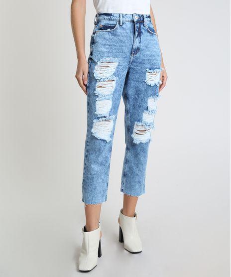 Calca-Jeans-Feminina-Mom-Cropped-Cintura-Super-Alta-Destroyed-Azul-Medio-9945388-Azul_Medio_1