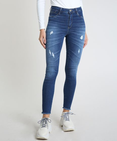 Calca-Jeans-Feminina-Sawary-Cigarrete-Push-Up-Cintura-Alta-Destroyed-Azul-Medio-9940130-Azul_Medio_1