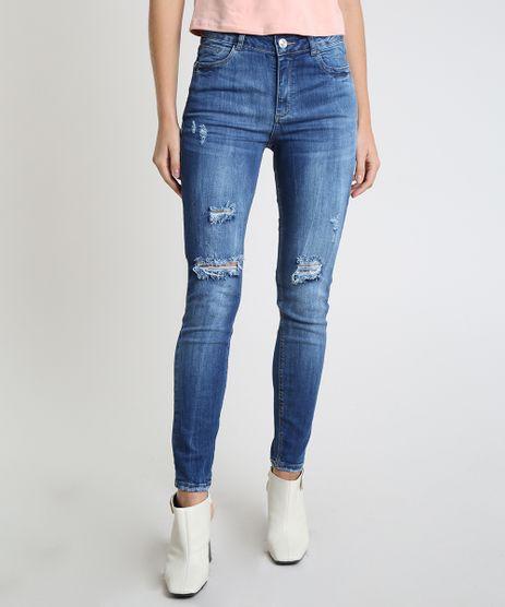Calca-Jeans-Feminina-Sawary-Super-Skinny-Cintura-Alta-Destroyed-Azul-Medio-9935056-Azul_Medio_1