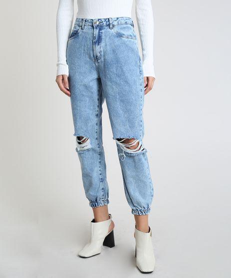 Calca-Jeans-Feminina-Mom-Jogger-Cintura-Super-Alta-Destroyed-Azul-Medio-9944866-Azul_Medio_1