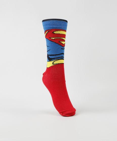 Meia-Masculina-Carnaval-Cano-Alto-Divertida-Super-Homem-Vermelha-9468290-Vermelho_1
