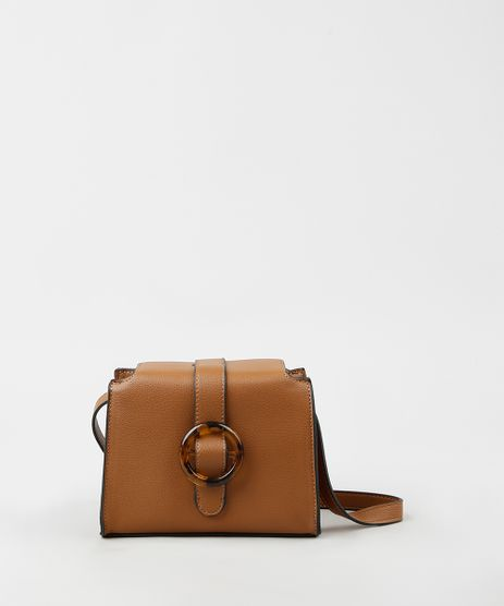 Bolsa-Feminina-Transversal-Pequena-com-Fivela-Tartaruga-Caramelo-9865140-Caramelo_1