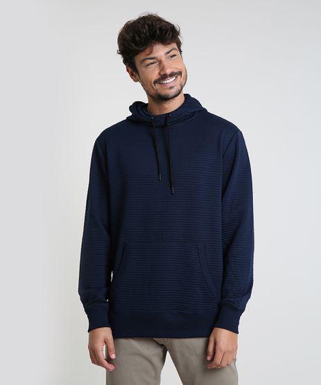 Blusao-Masculino-em-Moletom-Texturizado-com-Capuz-Azul-Marinho-9781712-Azul_Marinho_1
