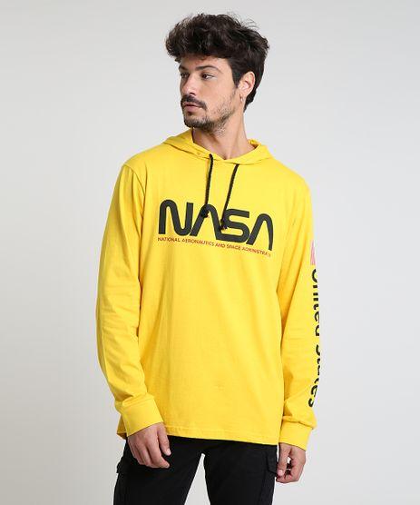 Camiseta-Masculina-NASA-com-Capuz-Manga-Longa-Amarela-9870734-Amarelo_1