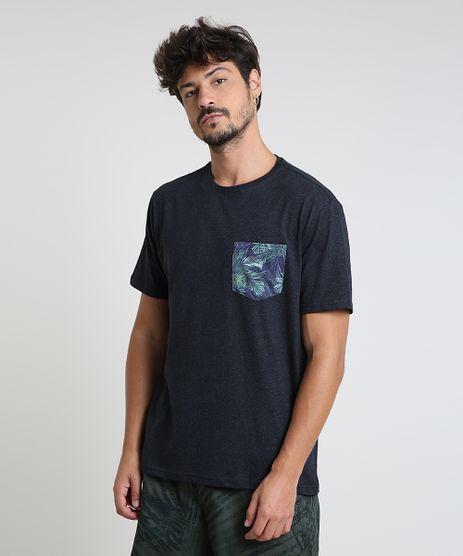Camiseta-Masculina-com-Bolso-Estampado-de-Folhagem-Manga-Curta-Gola-Careca-Azul-Marinho-9939596-Azul_Marinho_1