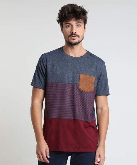 Camiseta-Masculina-com-Bolso-em-Suede-e-Recortes-Manga-Curta-Gola-Careca-Cinza-Mescla-Escuro-9873513-Cinza_Mescla_Escuro_1